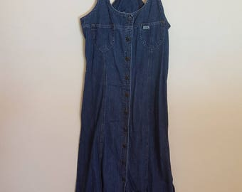 Vintage 1990s blue denim pinafore long dress