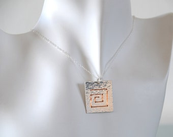 Square Spiral Necklace - Hammered Pendant Sterling Silver Copper Wire Wrapped Metalwork Jewellery Chain Gift for Her by Emma Dickie Design