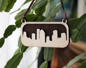 Houston Skyline Ornament (Laser Cut Wood) Holiday / Christmas Cityscape Decor, Texas Gift