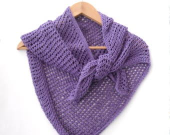 Asymmetrical lace cotton shawl , hand knit mesh wrap in purple. Can custom knit in your choice of colour