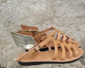 Greek leather Sandals winged , gladiator with wings-Sandales multi-brides en cuir, sandales ailees