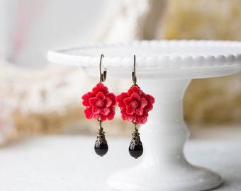 Red Flower Dangle Earrings, Black Teardrop Pearl Leverback Earrings, Red Wedding Bridal Earrings, Bridesmaid Gift, Valentines day gift