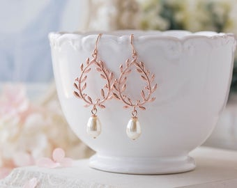 Rose Gold Cream White Pearls Bridal Earrings, Bridesmaid Earrings, Rose Gold Wedding Jewelry, Leaf Laurel Wreath Earrings, Bridesmaids Gift