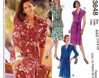 McCall's 3648 Sewing Pattern for Misses' Wrap Dress - Uncut - Size 4, 6, 8, 10