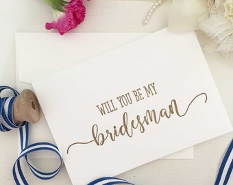 Bridesman, Will You Be My Bridesman, Bridesman Gift, Bridesman Card, Bridesman Proposal Card, Wedding Party Cards, Will You Be My Card