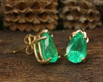 3.25cts Emerald Stud earrings, teardrop earrings, 14K Emerald Earring, Emerald 5 Prong Stud, Emerald Pear Studs, May Birthstone Earrings