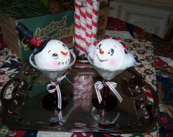 Snowman Snowmen Collector Snowtinis in RED Martini Glasses by Darlas Closet