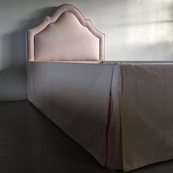 Twin Custom Bed -  With Curved Headboard, Inset Piping