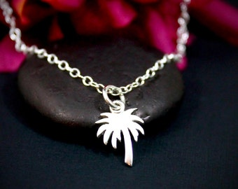Palm Tree Necklace | Sterling Silver Palm Tree Necklace | Tiny Palm Tree Necklace | Beach Girl Necklace | Beach Necklace | Gift for Her