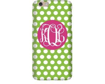 Monogram iPhone 7 Plus * 7 * 6/6S Plus * 6/6S * SE premium polka dot phone case personalized with name or initials