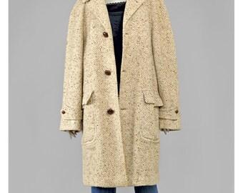 30% 0FF SALE Cocoon Coat Tweed Coat Brown Cream Wool Coat 80s Coat Oversize Coat 1980s Coat Leather Button Tweed Jacket