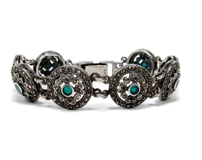 Art Deco Sterling Marcasite Chrysoprase Bracelet