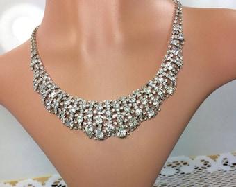 Wedding Rhinestone Necklace, Bridal Necklace, Vintage Crystal choker, Vintage Wedding, Wedding Jewelry, Quinceanera Jewelry, Bride Jewelry