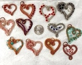 Wire Weave Heart Pendants with Swarovski Crystals/Pearls and Cord