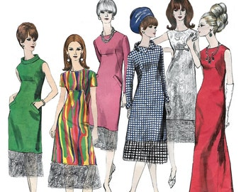 Vogue 1679 Basic 60s Semi-Fitted A Line Dress Sewing Pattern Size 14 Bust 34
