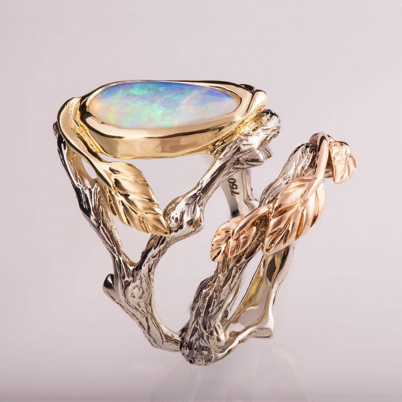 Twig and Leaf Engagement Set Opal engagement ring Twig Opal