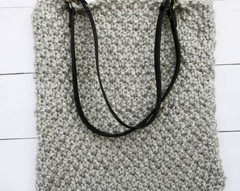Large Hand Knitted Tote Bag, Hand Knitted and fully lined with cotton fabric, Interior Pockets, Shoulder Bag