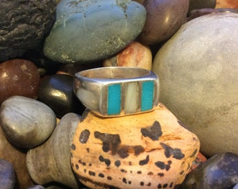 Southwest native design Turquoise, MOP & Sterling silver ring. Approximate Size 7 1/2- 8