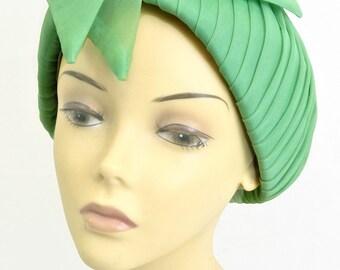 Original Vintage 1960s Green Chiffon Pleat Hat