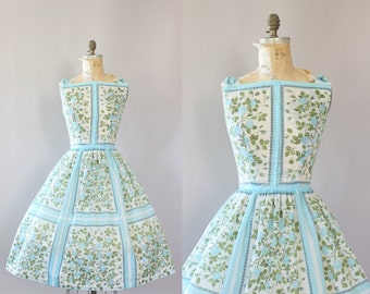 Vintage 50s Dress/ 1950s Cotton Dress/ L'Aiglon Light Blue Rose Print Cotton Dress w/ Bows L