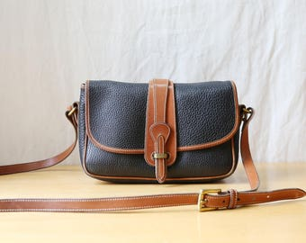 Dooney and Bourke All Weather Leather Purse // Crossbody Bag in Black and Tan