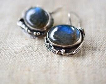 Sterling Silver Artisan Earrings Blue Labradorite Earrings One Of A Kind Handmade Jewelry by Alery