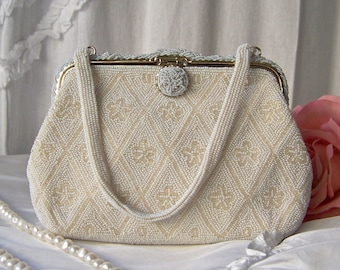 Vintage White Beaded Purse Satin Lining Cocktail Purse Bridal Shower Vintage 1960s