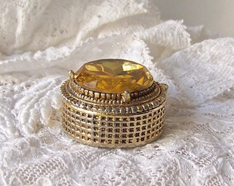 Vintage Perfume Compact Trinket Box Gold Glass Stone Spring Hinged Lid Pill Box 1960s