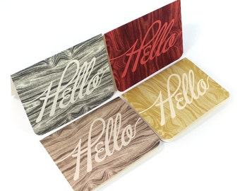 Hello - Wood Grain - Set of 4 Greeting Cards - Blank Note Cards - Handmade Recycled Eco friendly Stationery - Natural Wood - Woodland Rustic