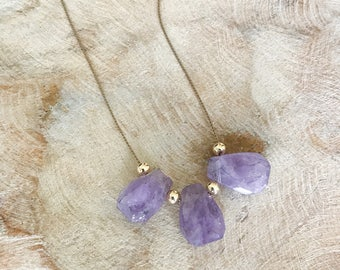 Gold Cape Amethyst Silk Cord Necklace