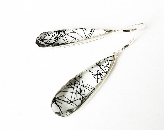 Black Rutilated Quartz Earrings, Rutilated Quartz, Tourmalinated Quartz, Tourmalinated Quartz Earrings, Silver