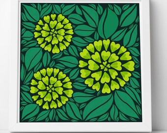 Green Floral Print Illustration Wall Art