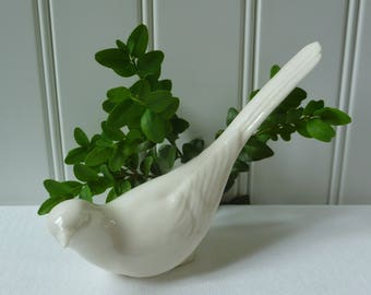 Lenox Bird Dove Figurine. Green Wreath Mark. Vintage Antique 1900s 1910s 1920s. White Porcelain.