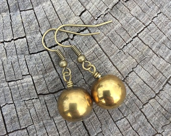 Gold Ball Drops . Earrings