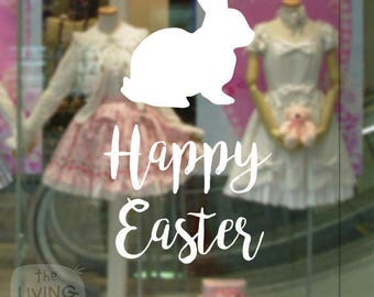 Happy Easter With Rabbit, Decorative Glass Shop Window Display, Removable Sticker Australian Made