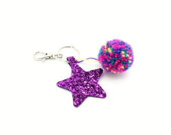 Purple Glitter Star Pom Pom Keychain Handbag Charm