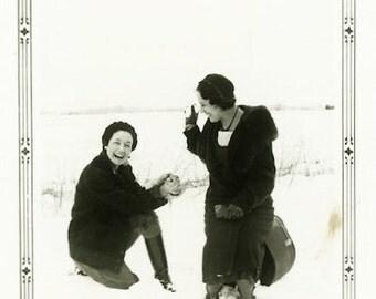 "Vintage Photo ""The Giggling Threat of Snowballs"" Snapshot Antique Photo Old Black & White Photograph Found Paper Ephemera Vernacular - 137"