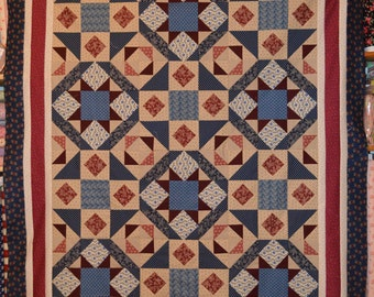 "Quilt Top, 49"" x 61"", Heritage Reds and Blues, Freedom Bound"