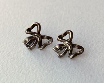 Vintage Sterling Silver Bow Earrings Screw Back