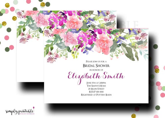 Wedding Shower Invitation, Bridal Shower Invite, Watercolor Floral, Flower Purples
