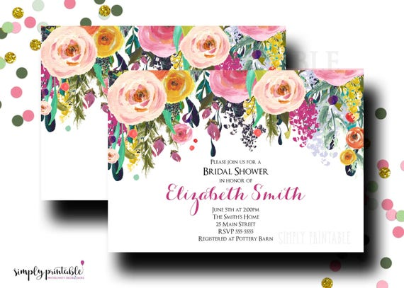 Bridal Shower Invitation, Wedding Shower Invite, Watercolor Floral, Colorful Floral Bouquet