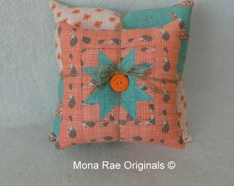 """Star Stacking Pillows ~ Two Pillows 8"""" & 12"""" ~ Hand Quilted OOAK ~ Bunny/Hedgehog Throw/Sofa/Chair Pillows~ Teal/Peach Pillows"""