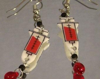 Syringe Dangle Earrings - Phlebotomist Jewelry - Nurse Jewellery
