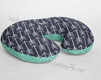 Boppy® Cover, Nursing Pillow Cover - NAVY Arrows Minky with MINT Minky Dot or Minky Smooth - Choose Your Minky Type - BC2