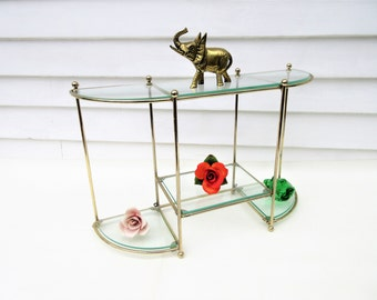 Vintage Brass Glass Display, Brass Shelves, 3 Tier Stand, Metal Wall Shelf