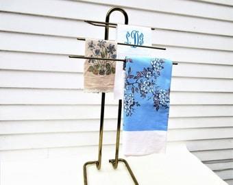 Vintage Brass Valet Butler | Brass Rack | Towel Rack | Quilt Rack | Metal Hanger | Clothes Organizer