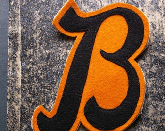 Vintage Letter Jacket Black and Orange Felt 'B' Patch - Retro Athletic Decor