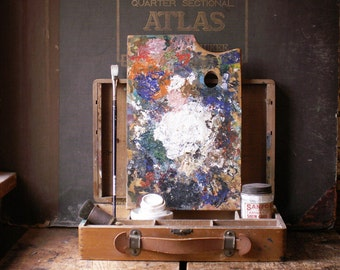 Vintage Artist's Watercolor Paint Box with Rectangular Palette - Small Size