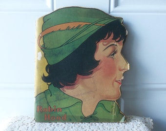 Robin Hood Book - Rare Edition 1929, Softcover, Shape Book, McLoughlin Bros., Inc., Made in USA, Childrens Book, Collectible, Display