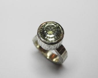 Artemis ring with stunning prasiolite